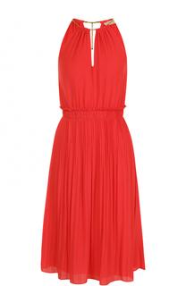 Приталенное плиссированное платье без рукавов MICHAEL Michael Kors
