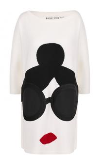 Шерстяное мини-платье с принтом и укороченным рукавом Alice + Olivia