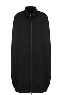 Шерстяное пальто на молнии с отложным воротником Yohji Yamamoto