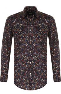 Хлопковая рубашка с контрастным принтом Dsquared2