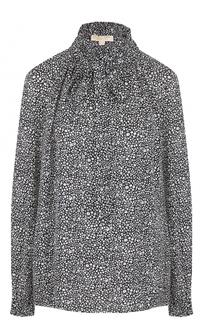 Шелковая блуза с воротником аскот и принтом MICHAEL Michael Kors