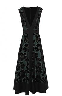 Приталенное платье-миди с глубоким V-образным вырезом Alexander McQueen