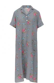 Шелковое платье в пижамном стиле с принтом Natasha Zinko