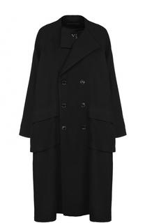 Двубортное шерстяное пальто свободного кроя Yohji Yamamoto