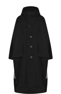 Шерстяное пальто свободного кроя с капюшоном Yohji Yamamoto