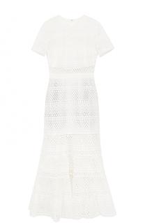 Приталенное кружевной платье-миди self-portrait