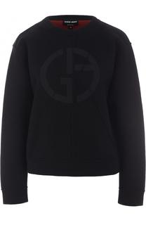 Пуловер свободного кроя с логотипом бренда Giorgio Armani