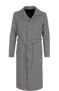 Однобортное пальто с поясом Ami