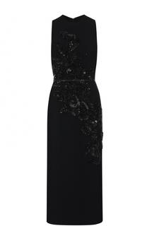 Платье-миди с декоративной вышивкой и поясом Elie Saab
