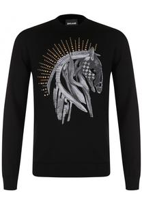 Шерстяной свитшот с принтом и металлическими заклепками Just Cavalli