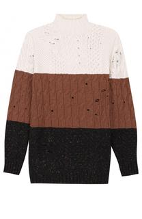 Удлиненный свитер из смеси шерсти и кашемира фактурной вязки Damir Doma