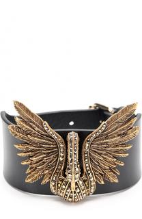 Кожаный браслет с декором в виде птицы из страз Lanvin