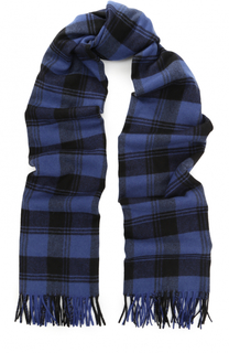 Вязаный шарф из смеси шерсти и кашемира в клетку с бахромой Saint Laurent