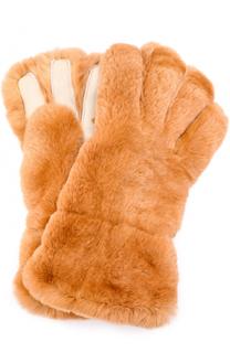 Перчатки из меха кролика с кожаной отделкой Marni
