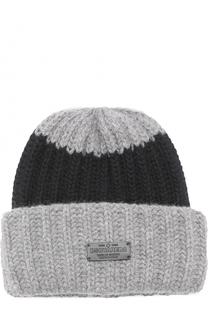 Вязаная шапка из шерсти и ангоры с логотипом бренда Dsquared2