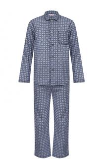 Хлопковая пижама с принтом Derek Rose