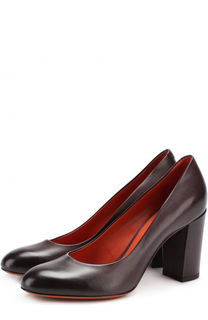 Кожаные туфли на устойчивом каблуке Santoni