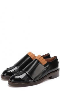 Кожаные ботинки с бахромой и широким ремешком Marni