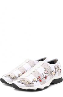Текстильные кроссовки с цветочной вышивкой Fendi