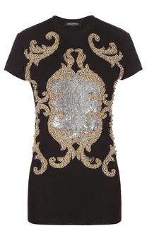 Приталенная футболка с декоративной вышивкой Balmain