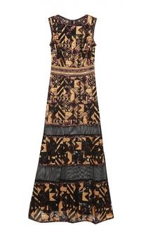 Полупрозрачное приталенное платье-макси с пайетками Tadashi Shoji