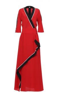 Шелковое платье в пол асимметричного кроя Kenzo