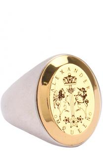 Кольцо с рельефным гербом и логотипом бренда Alexander McQueen