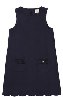 Платье джерси с карманами и фигурным подолом Armani Junior