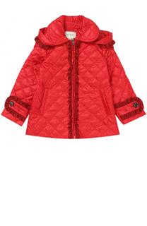 Укороченное стеганое пальто с оборками и капюшоном Gucci