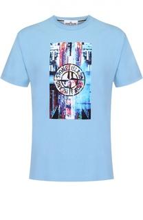 Хлопковая футболка с контрастным принтом Stone Island