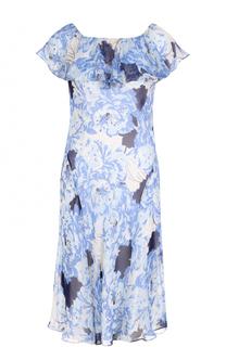 Шелковое платье с цветочным принтом и открытыми плечами Polo Ralph Lauren
