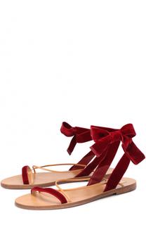 Бархатные сандалии с ремешками Valentino