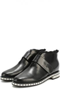 Кожаные ботинки на подошве с контрастными вставками Giorgio Armani