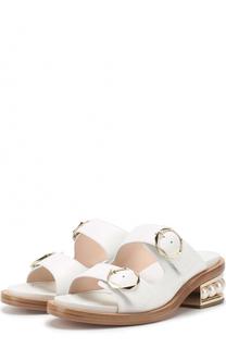 Кожаные сабо на каблуке с жемчужинами Nicholas Kirkwood