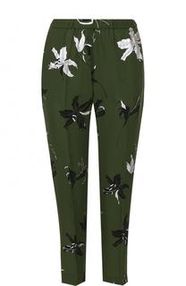 Укороченные шелковые брюки с принтом Dries Van Noten