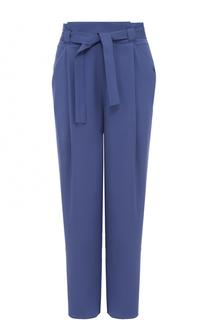 Шелковые брюки с завышенной талией и поясом Armani Collezioni