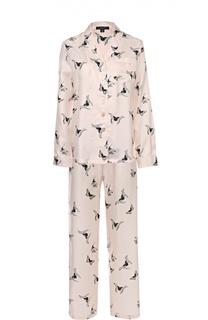 Шелковый костюм в пижамном стиле с контрастным принтом Alexander McQueen