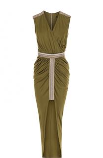 Приталенное платье с высоким разрезом и драпировкой Balmain