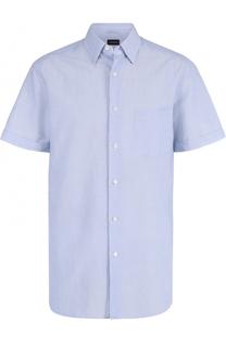 Рубашка с короткими рукавами из смеси хлопка и льна Ermenegildo Zegna