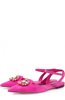 Замшевые балетки Bellucci с брошью Dolce & Gabbana