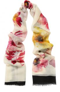 Кашемировый шарф с цветочным принтом Lanvin