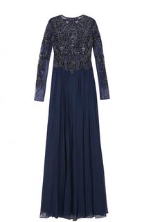 Платье-макси с длинным рукавом и декорированным лифом Basix Black Label
