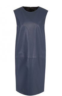 Кожаное платье прямого кроя без рукавов Lanvin