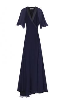 Приталенное платье-макси с запахом и укороченным рукавом Lanvin