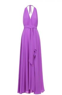 Шелковое платье-макси с высоким разрезом и открытой спиной Lazul