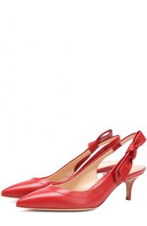Кожаные туфли с бантом на ремешке Gianvito Rossi