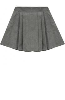 Шерстяная мини-юбка со складками Aletta