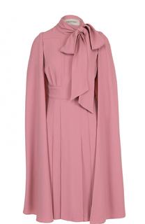 Платье-миди с воротником аскот и кейпом Valentino