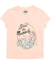 Хлопковая футболка с принтом и стразами Juicy Couture