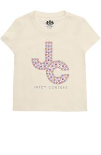 Хлопковая футболка с металлизированным принтом и стразами Juicy Couture
